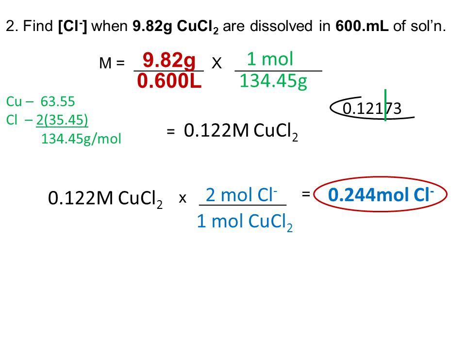 9.82g 1 mol 0.600L 134.45g 2 mol Cl- 0.244mol Cl- 1 mol CuCl2 0.12173