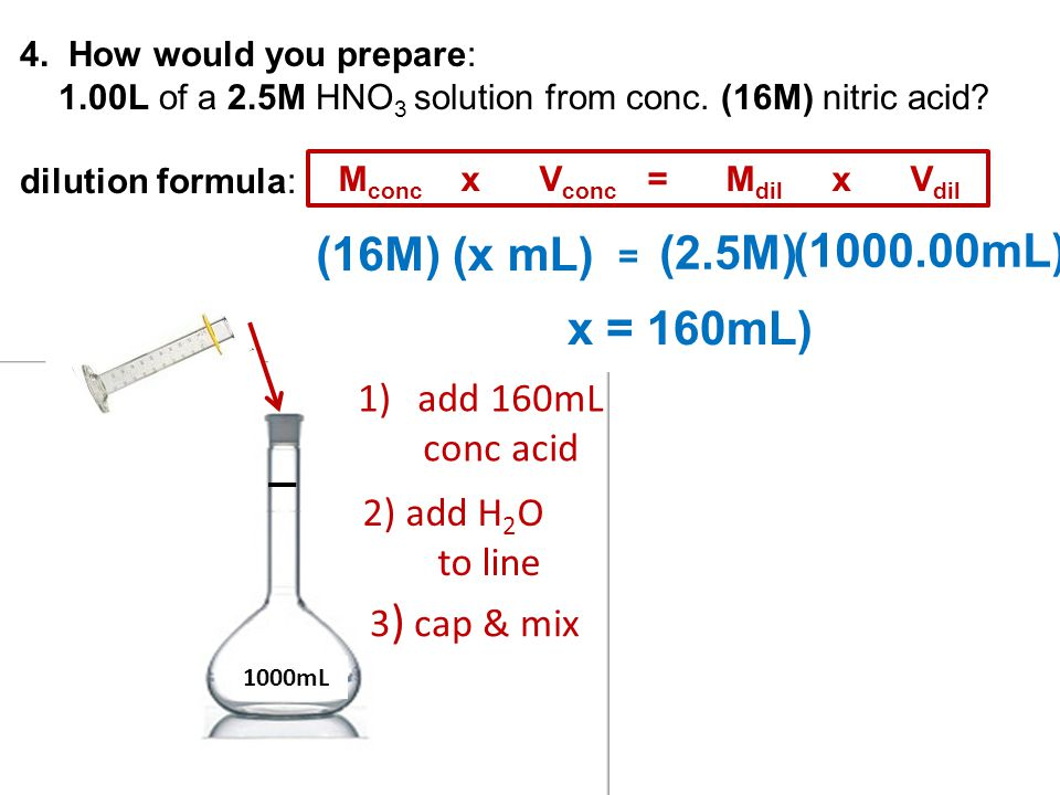 (16M) (x mL) (2.5M) (1000.00mL) x = 160mL) add 160mL conc acid