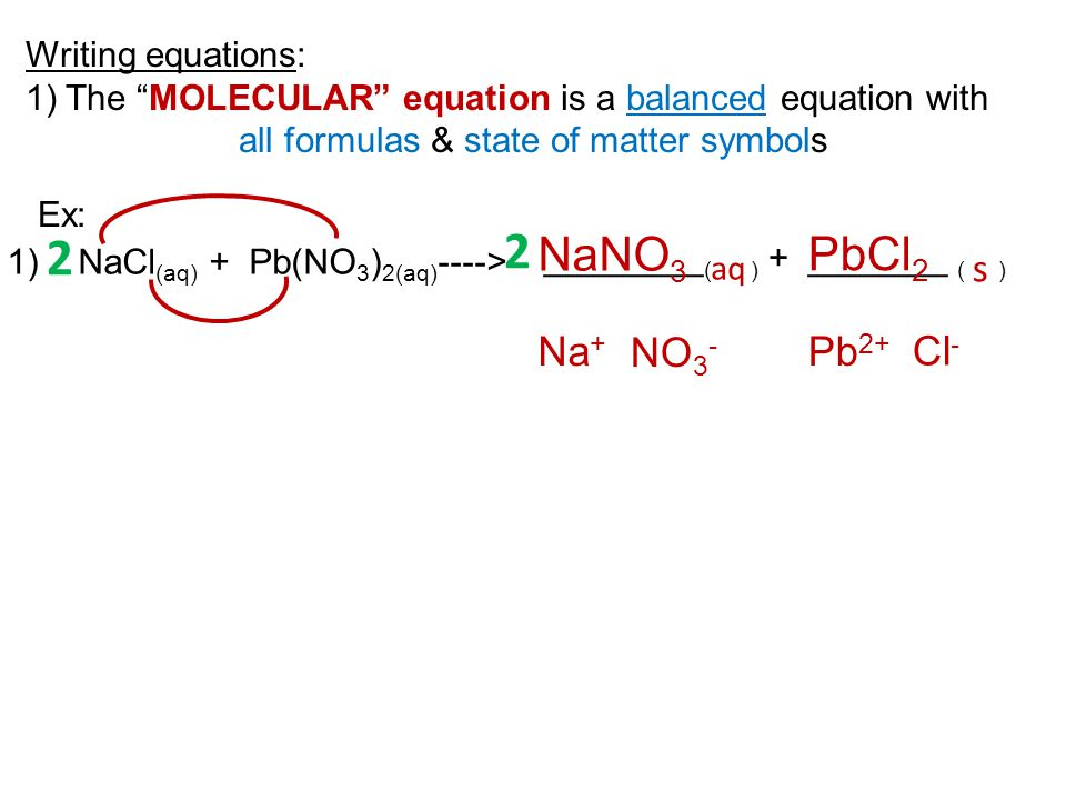 2 2 NaNO3 PbCl2 s Na+ NO3- Pb2+ Cl- Writing equations: