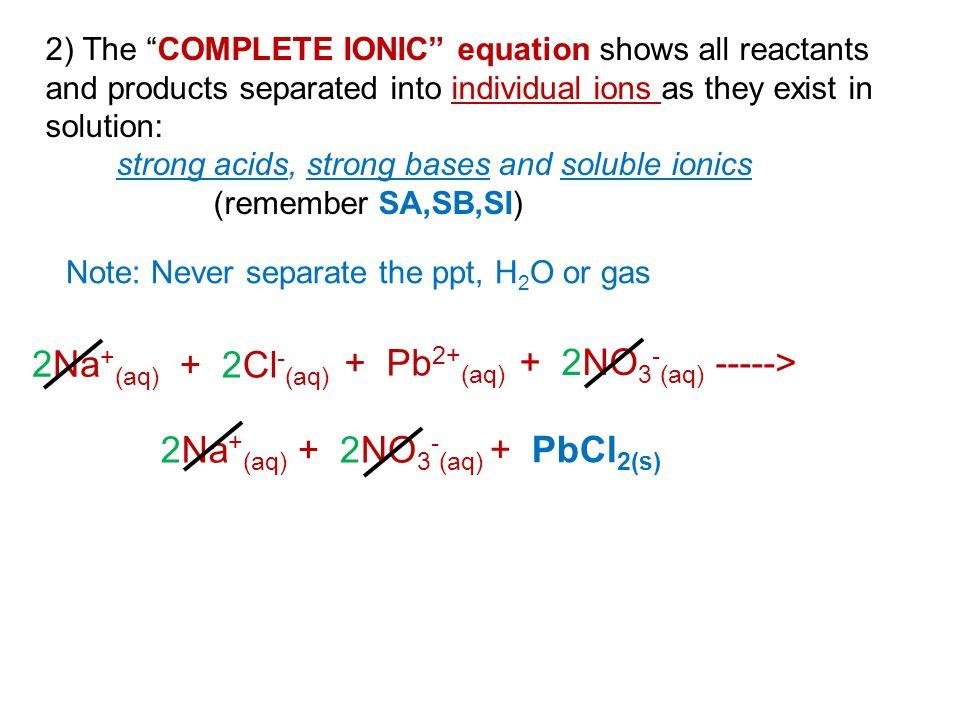 2Na+(aq) + 2Cl-(aq) + Pb2+(aq) + 2NO3-(aq) -----> 2Na+(aq)