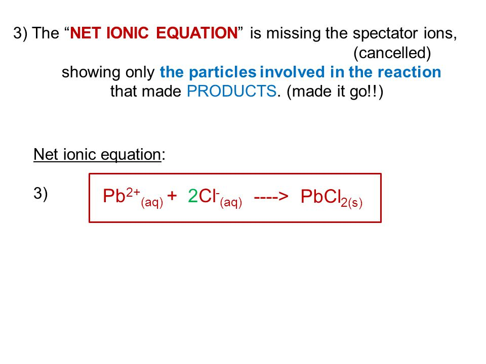 Pb2+(aq) + 2Cl-(aq) ----> PbCl2(s)