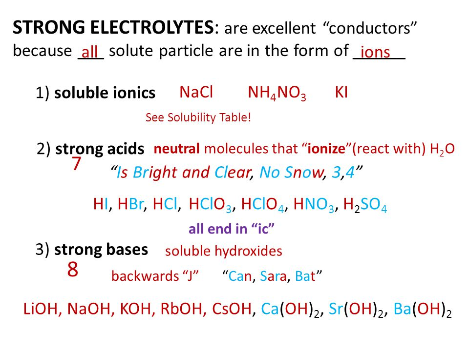 8 STRONG ELECTROLYTES: are excellent conductors 7