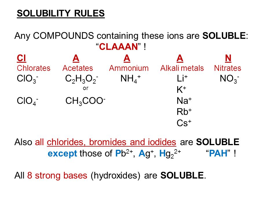 Any COMPOUNDS containing these ions are SOLUBLE: CLAAAN ! Cl A A A N
