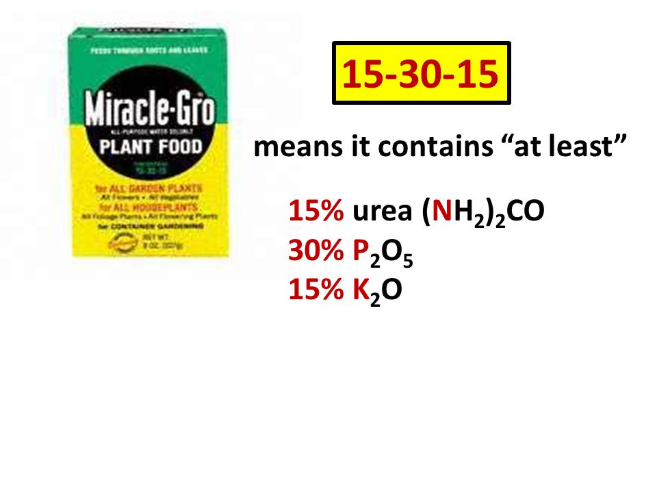 15-30-15 means it contains at least 15% urea (NH2)2CO 30% P2O5