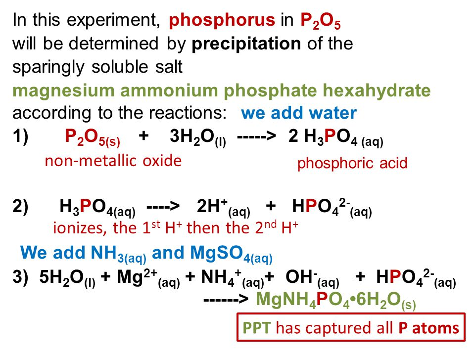 In this experiment, phosphorus in P2O5