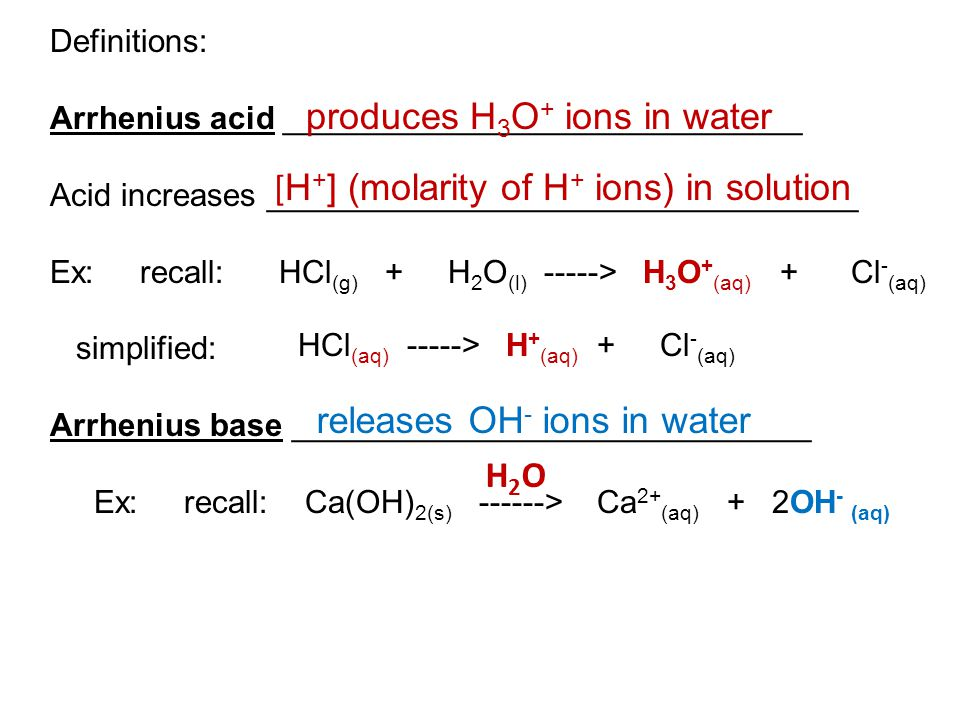 produces H3O+ ions in water