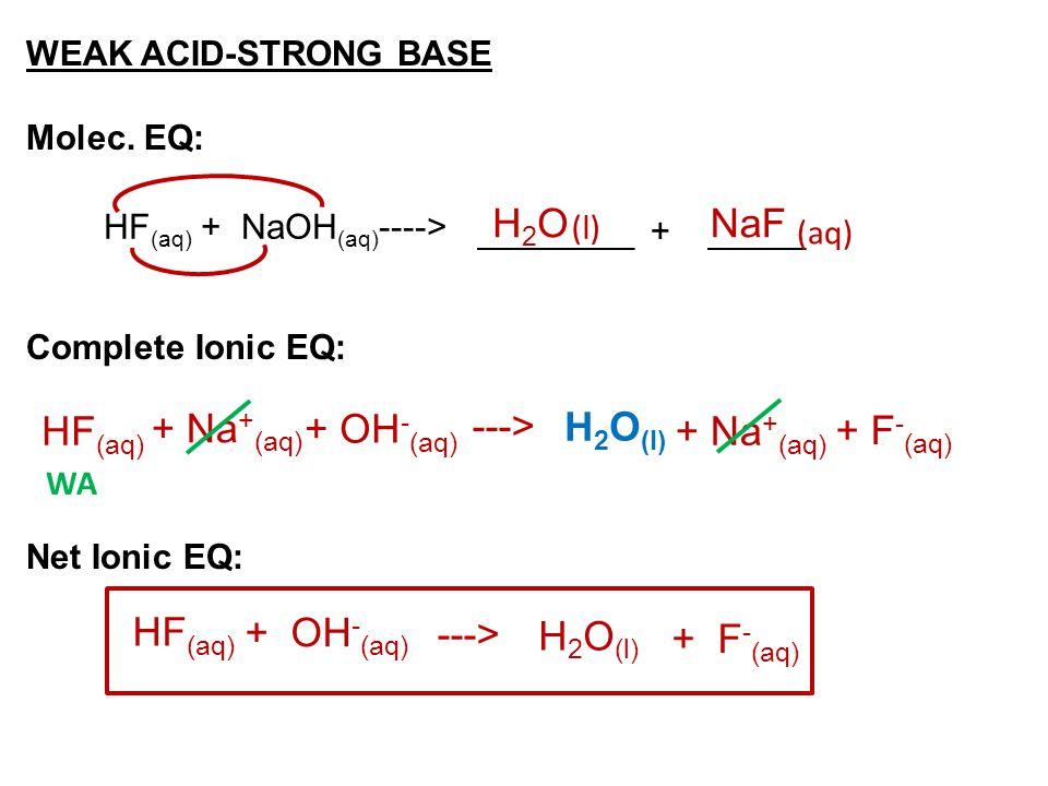 H2O NaF HF(aq) + Na+(aq) + OH-(aq) ---> H2O(l) + Na+(aq) + F-(aq)
