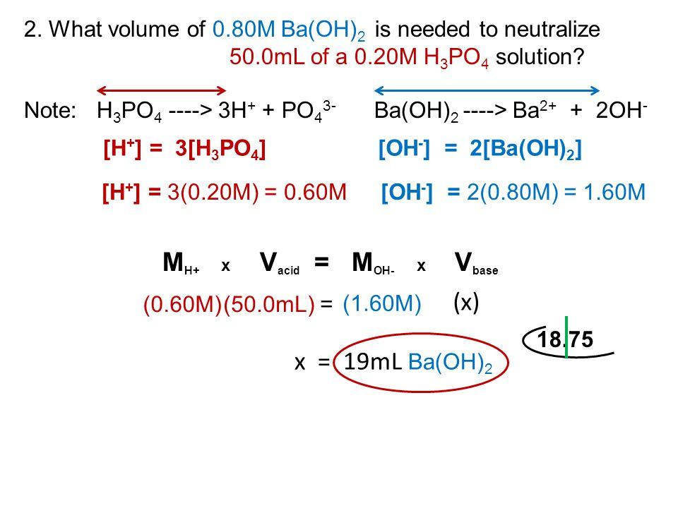 MH+ x Vacid = MOH- x Vbase