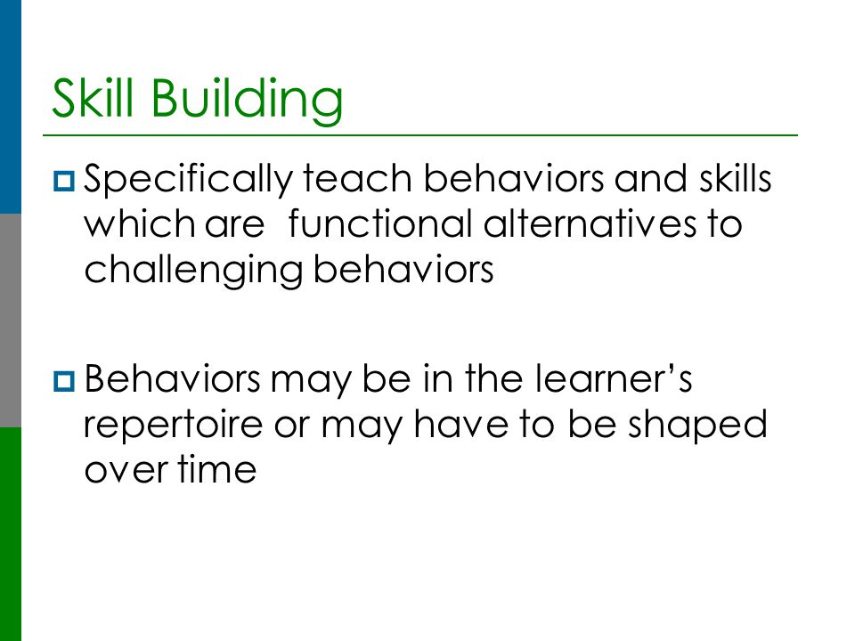 Skill Building Specifically teach behaviors and skills which are functional alternatives to challenging behaviors.