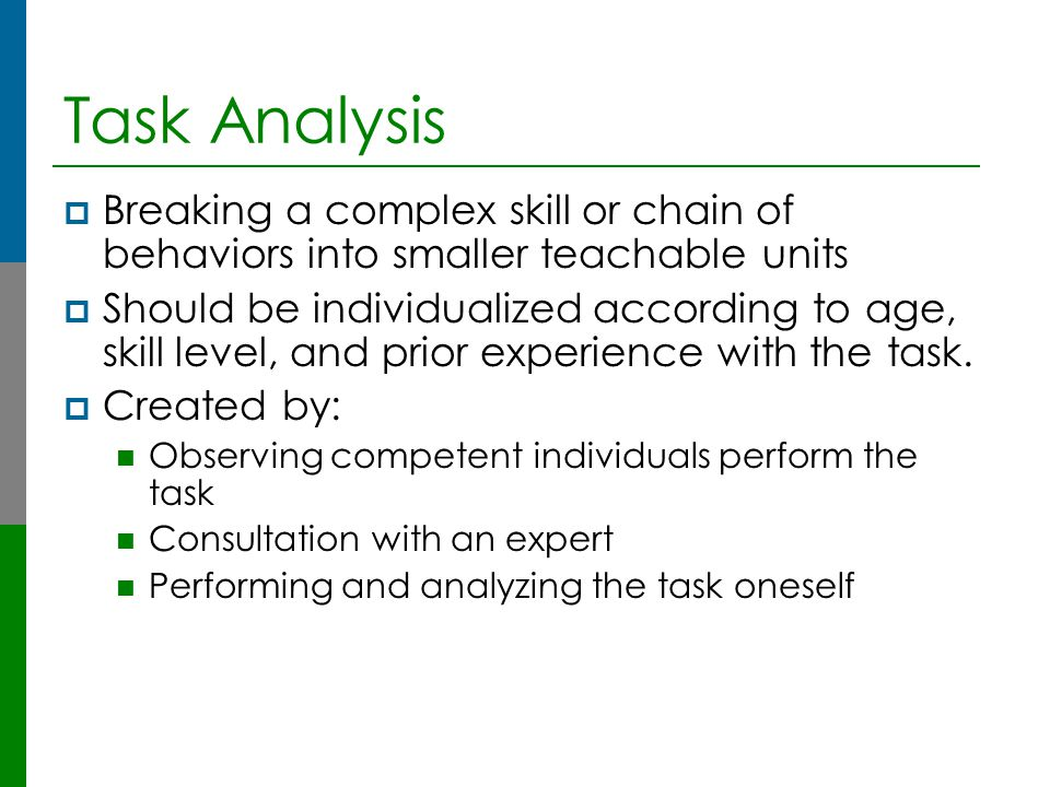 Task Analysis Breaking a complex skill or chain of behaviors into smaller teachable units.