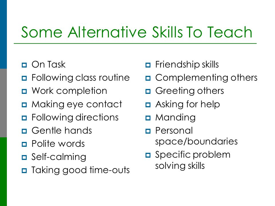 Some Alternative Skills To Teach