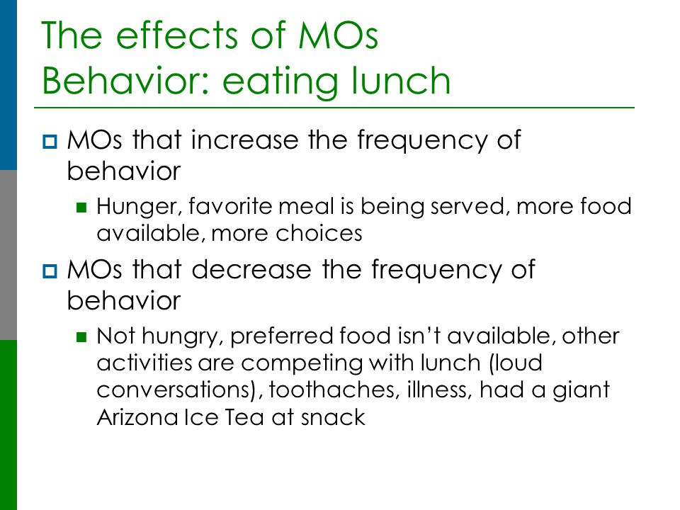 The effects of MOs Behavior: eating lunch