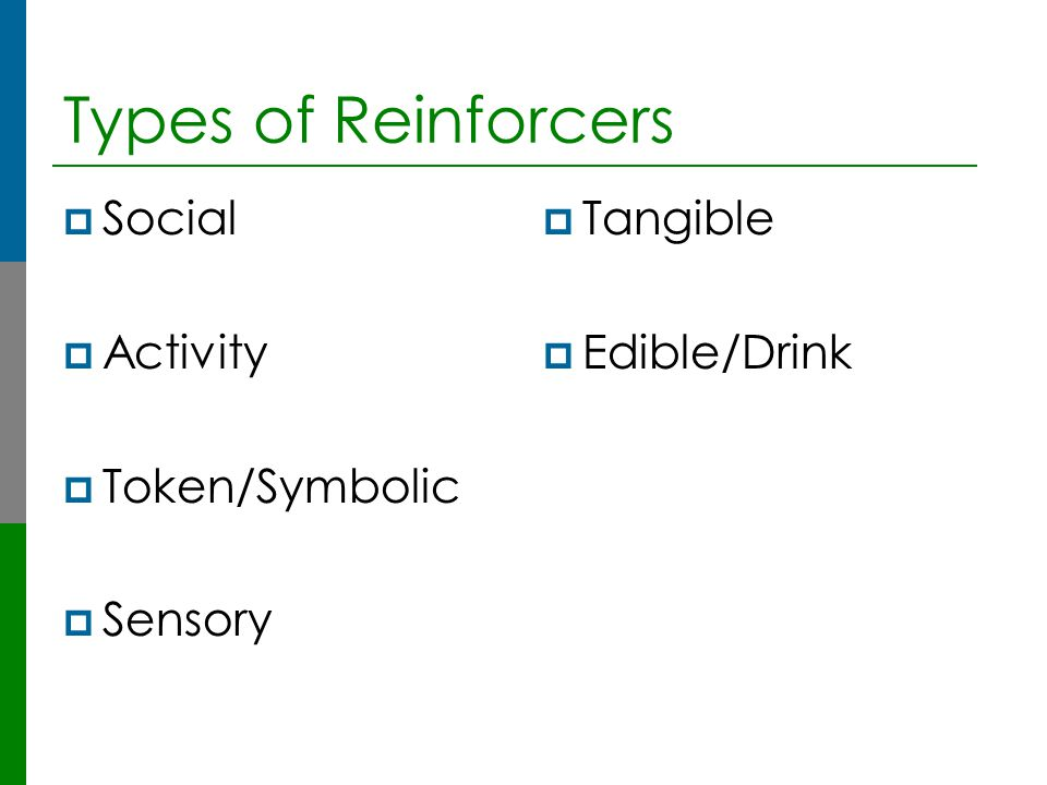 Types of Reinforcers Social Activity Token/Symbolic Sensory Tangible