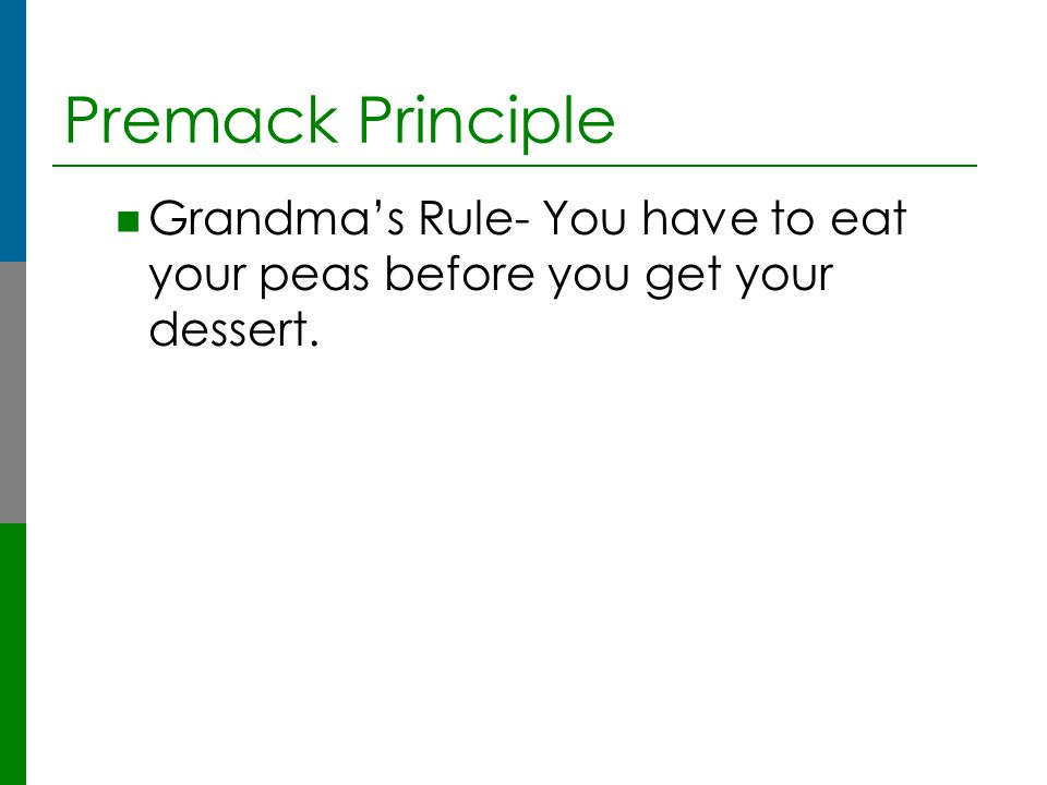 Premack Principle Grandma's Rule- You have to eat your peas before you get your dessert.