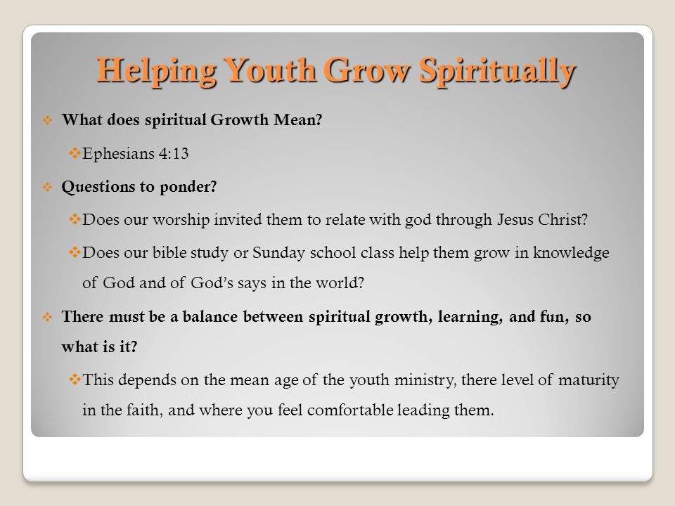 Helping Youth Grow Spiritually