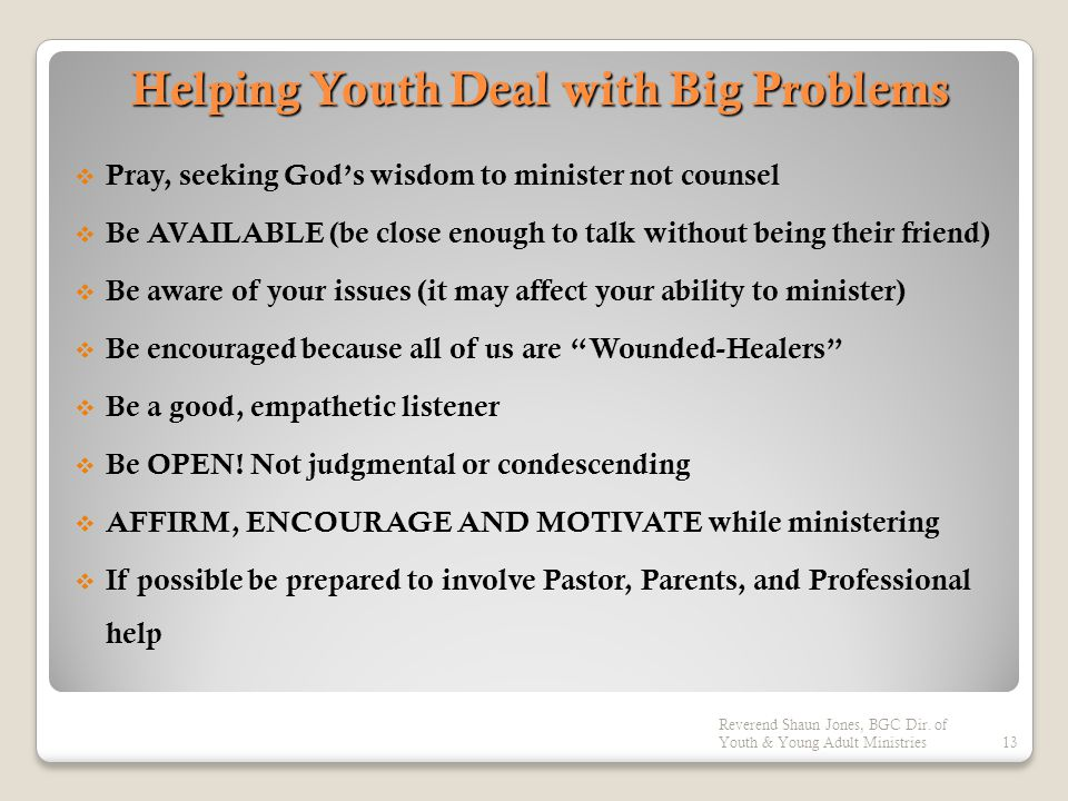 Helping Youth Deal with Big Problems