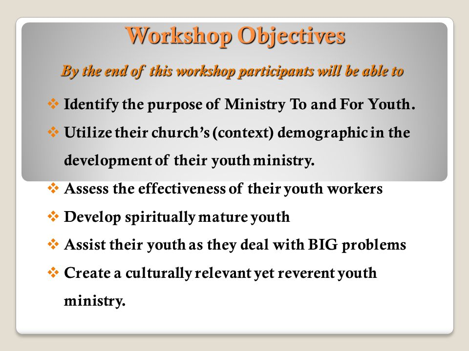 By the end of this workshop participants will be able to