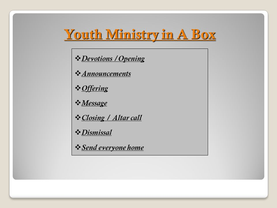 Youth Ministry in A Box Devotions /Opening Announcements Offering