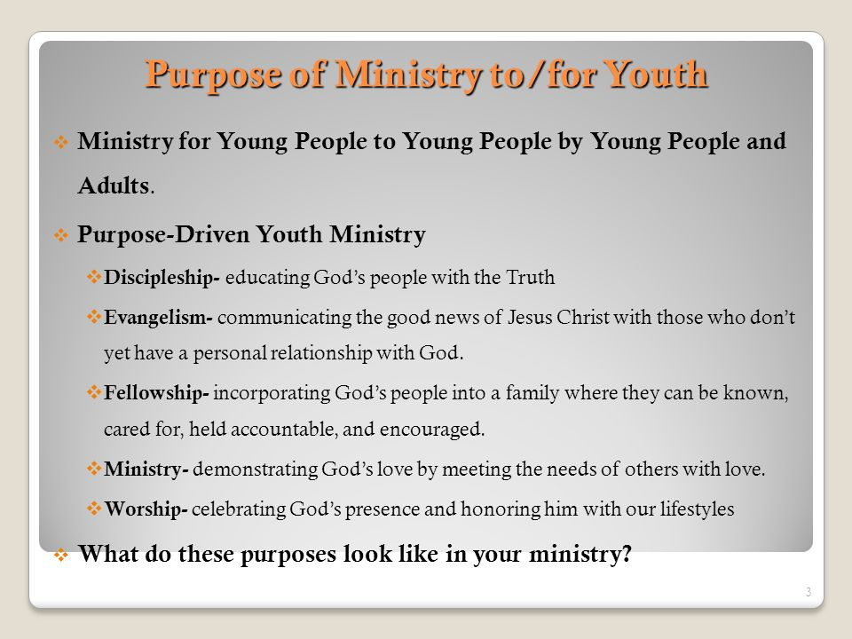 Purpose of Ministry to/for Youth