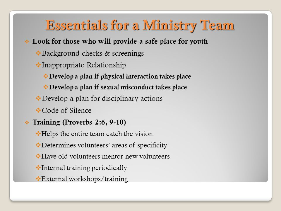 Essentials for a Ministry Team