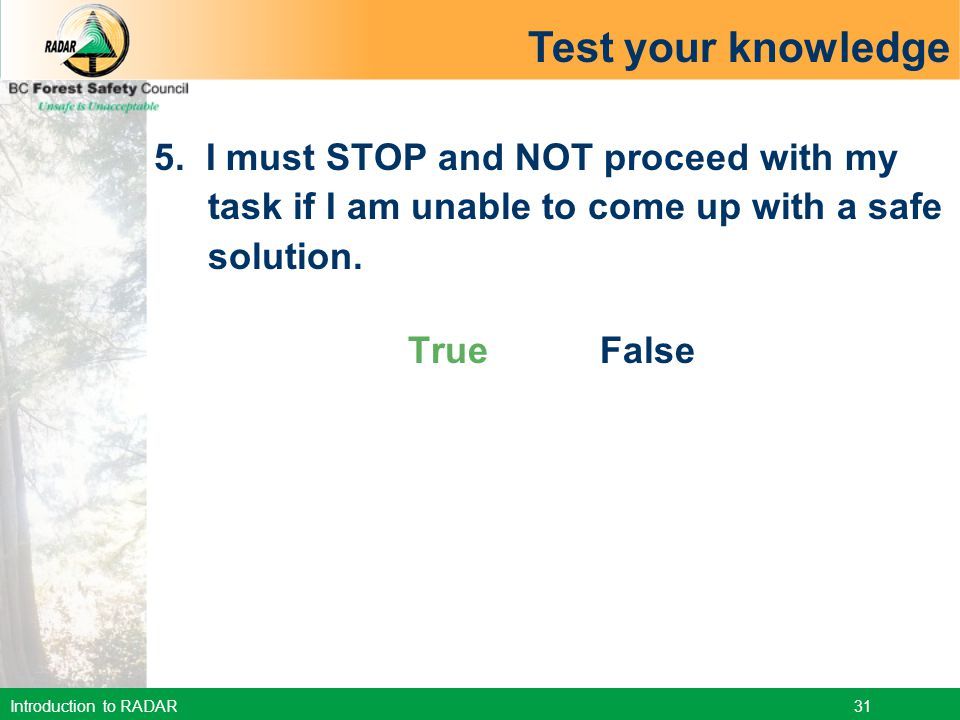 Test your knowledge 5. I must STOP and NOT proceed with my task if I am unable to come up with a safe solution.