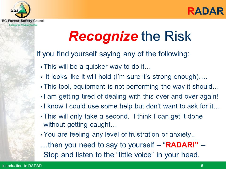 Recognize the Risk RADAR