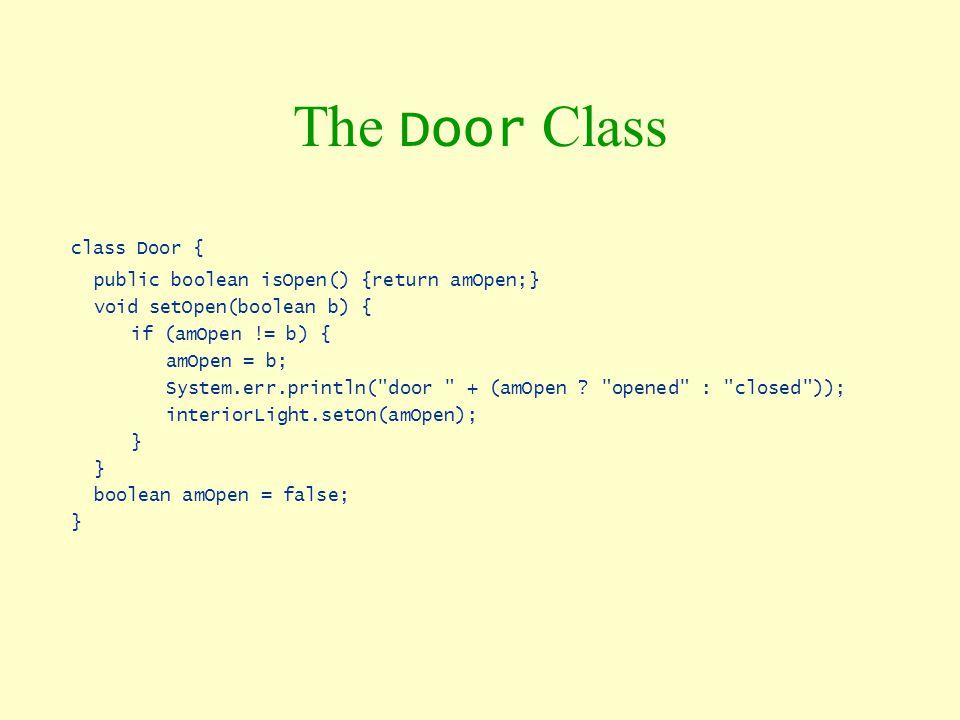 The Door Class class Door { public boolean isOpen() {return amOpen;}