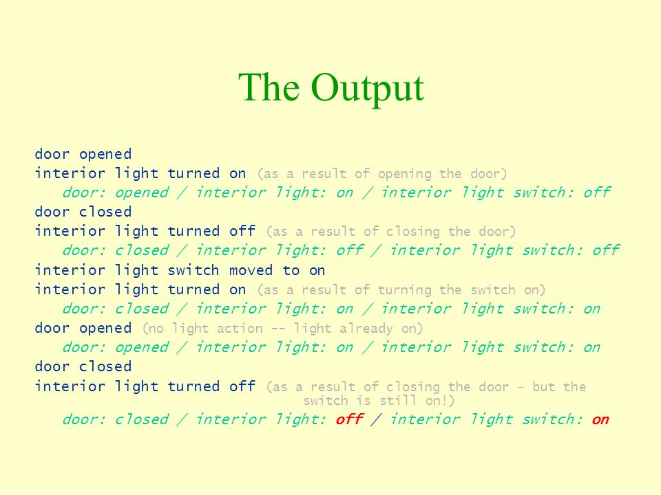 The Output door opened. interior light turned on (as a result of opening the door) door: opened / interior light: on / interior light switch: off.