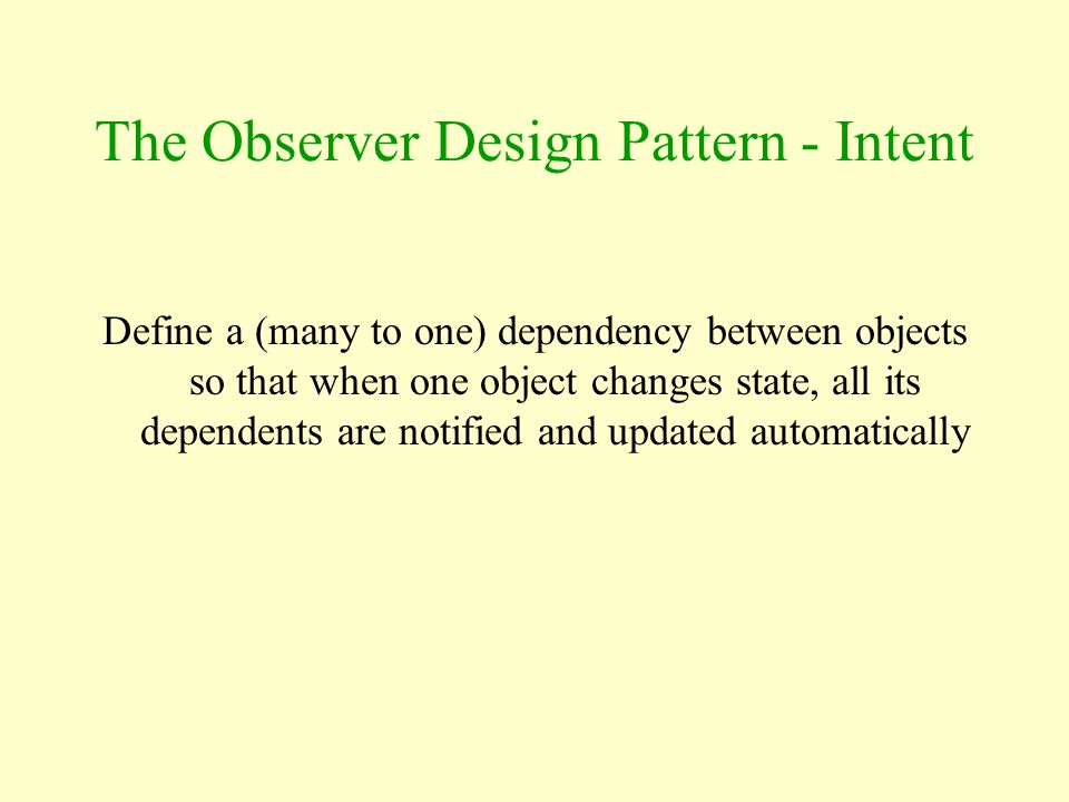 The Observer Design Pattern - Intent