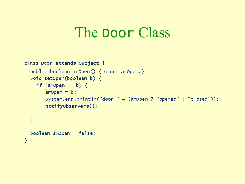 The Door Class class Door extends Subject {