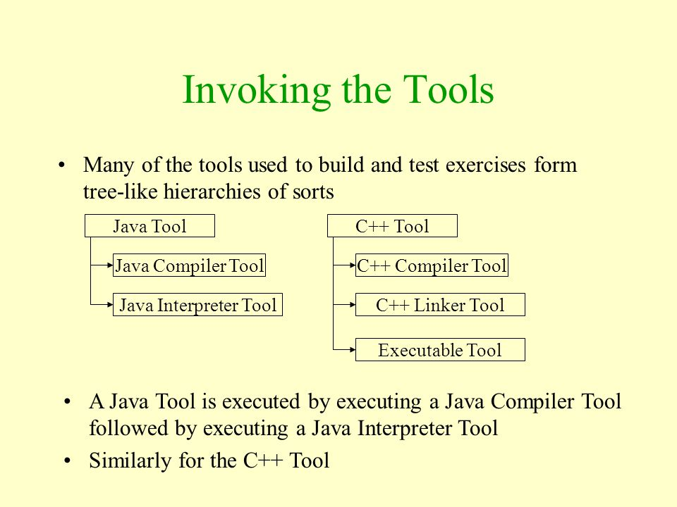 Invoking the Tools Many of the tools used to build and test exercises form tree-like hierarchies of sorts.