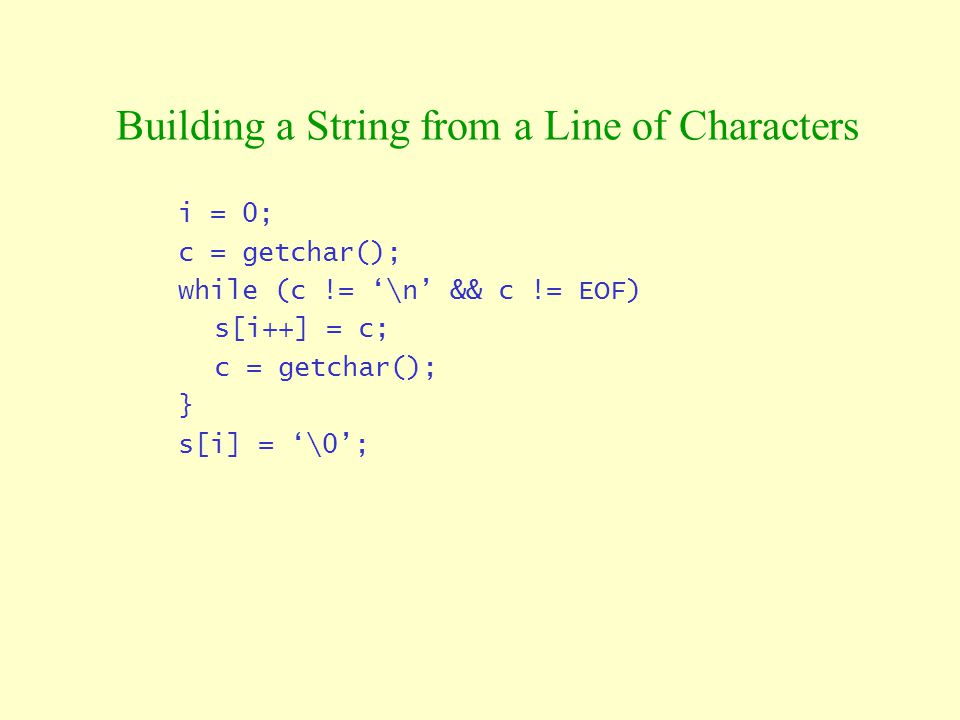 Building a String from a Line of Characters