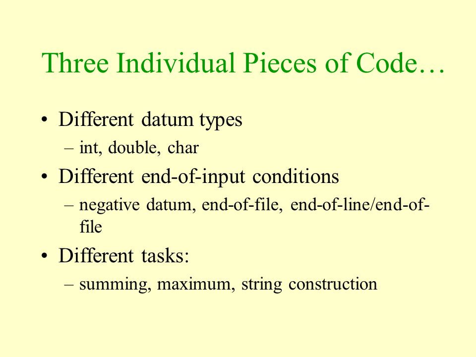 Three Individual Pieces of Code…