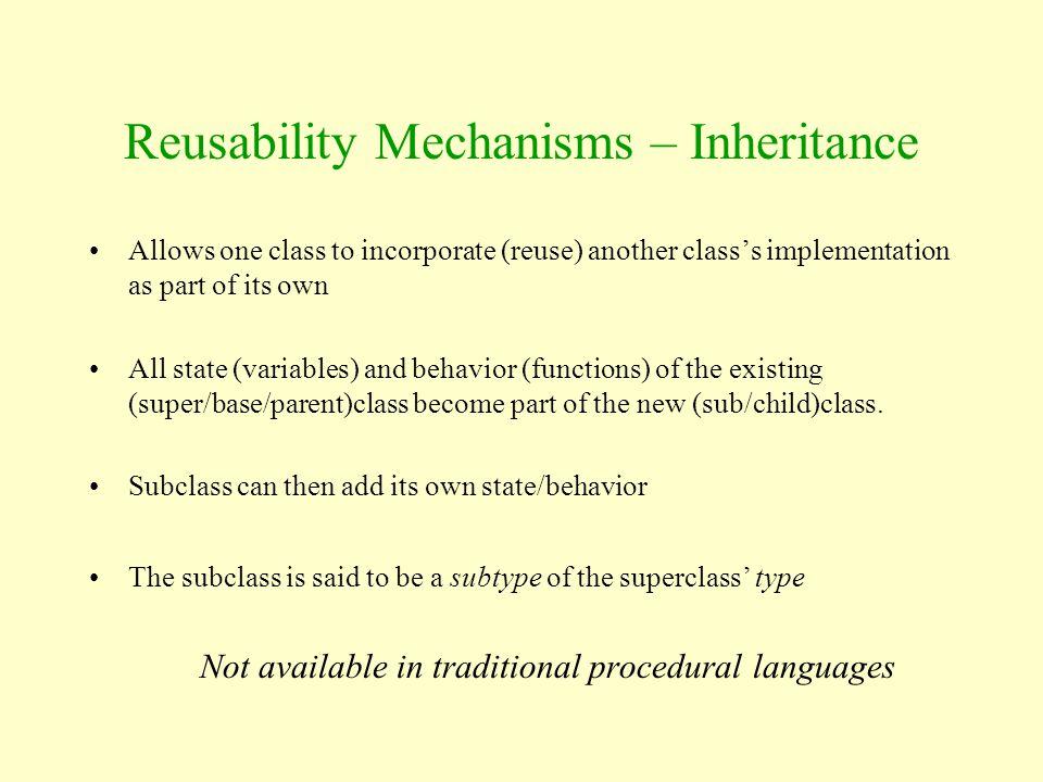 Reusability Mechanisms – Inheritance