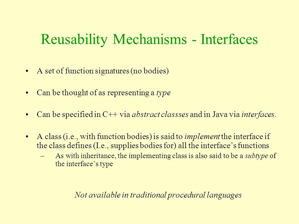 Reusability Mechanisms - Interfaces