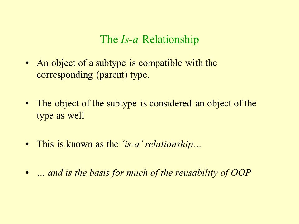 The Is-a Relationship An object of a subtype is compatible with the corresponding (parent) type.
