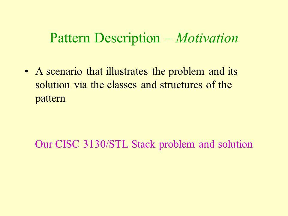 Pattern Description – Motivation