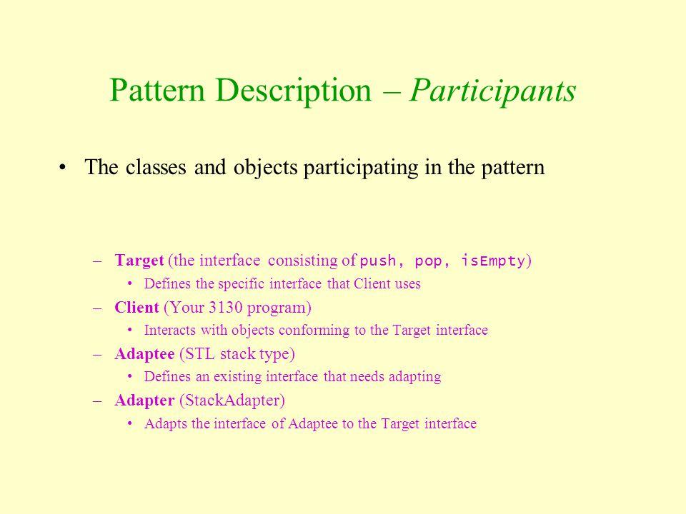 Pattern Description – Participants
