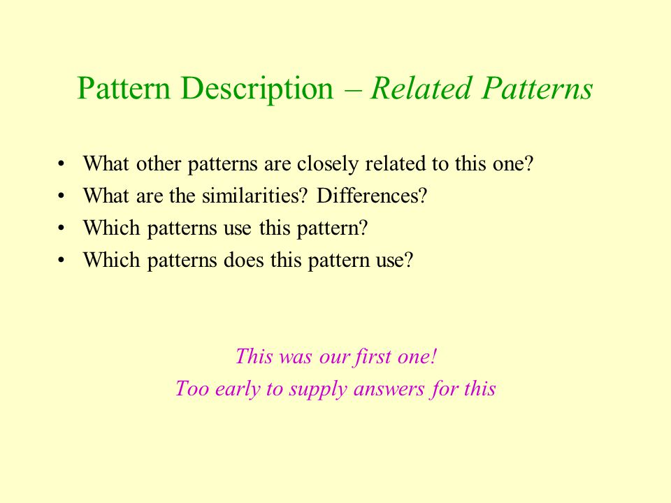 Pattern Description – Related Patterns