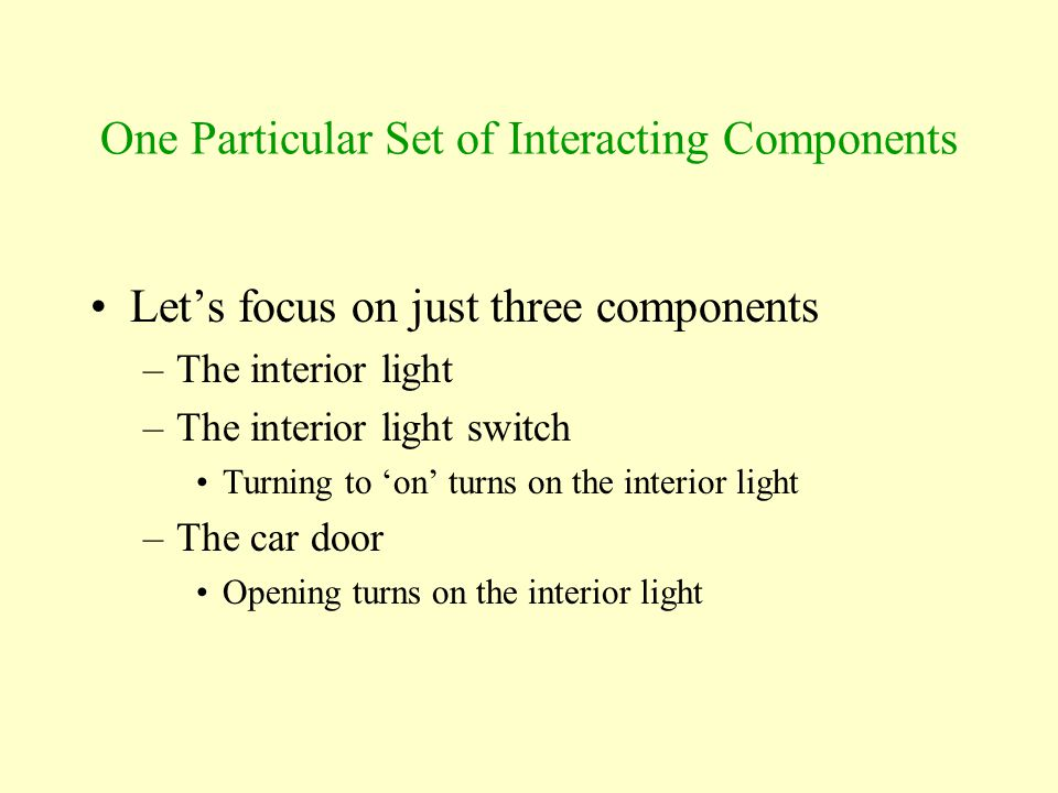 One Particular Set of Interacting Components