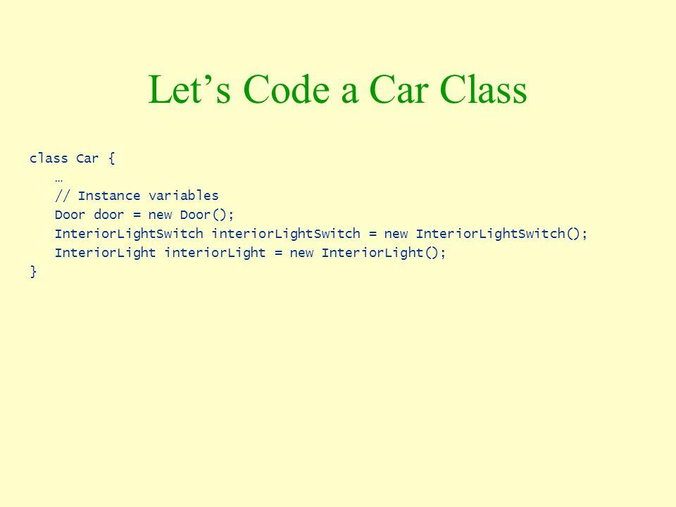 Let's Code a Car Class class Car { … // Instance variables