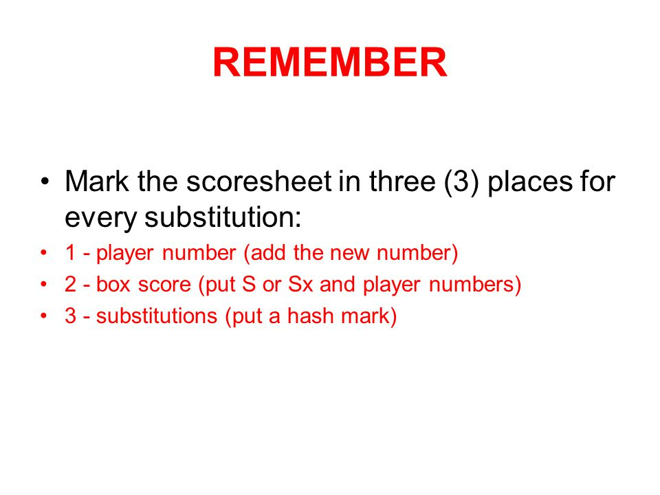 REMEMBER Mark the scoresheet in three (3) places for every substitution: 1 - player number (add the new number)