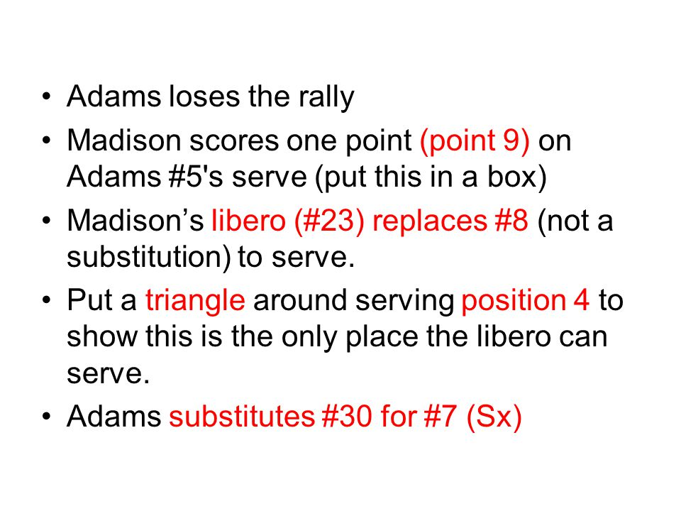 Adams loses the rally Madison scores one point (point 9) on Adams #5 s serve (put this in a box)