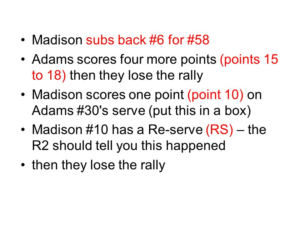 Madison subs back #6 for #58