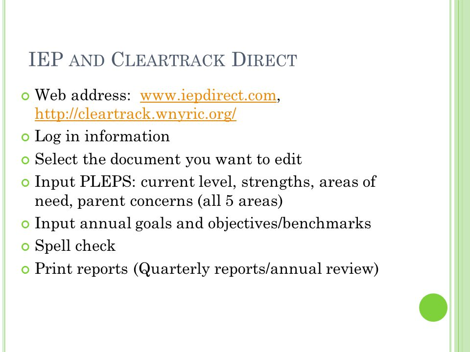 IEP and Cleartrack Direct
