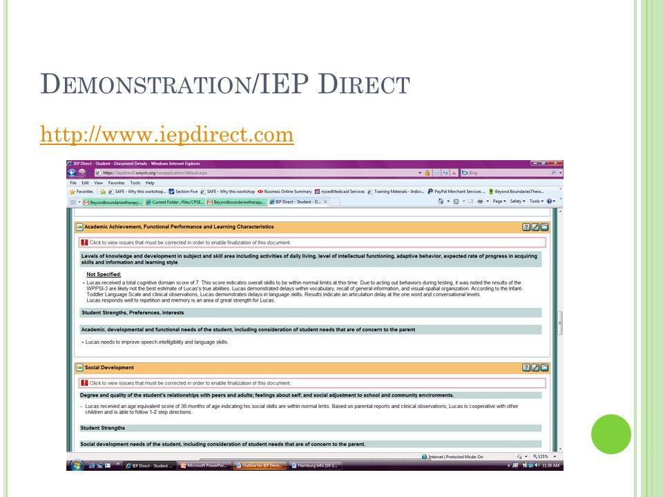 Demonstration/IEP Direct