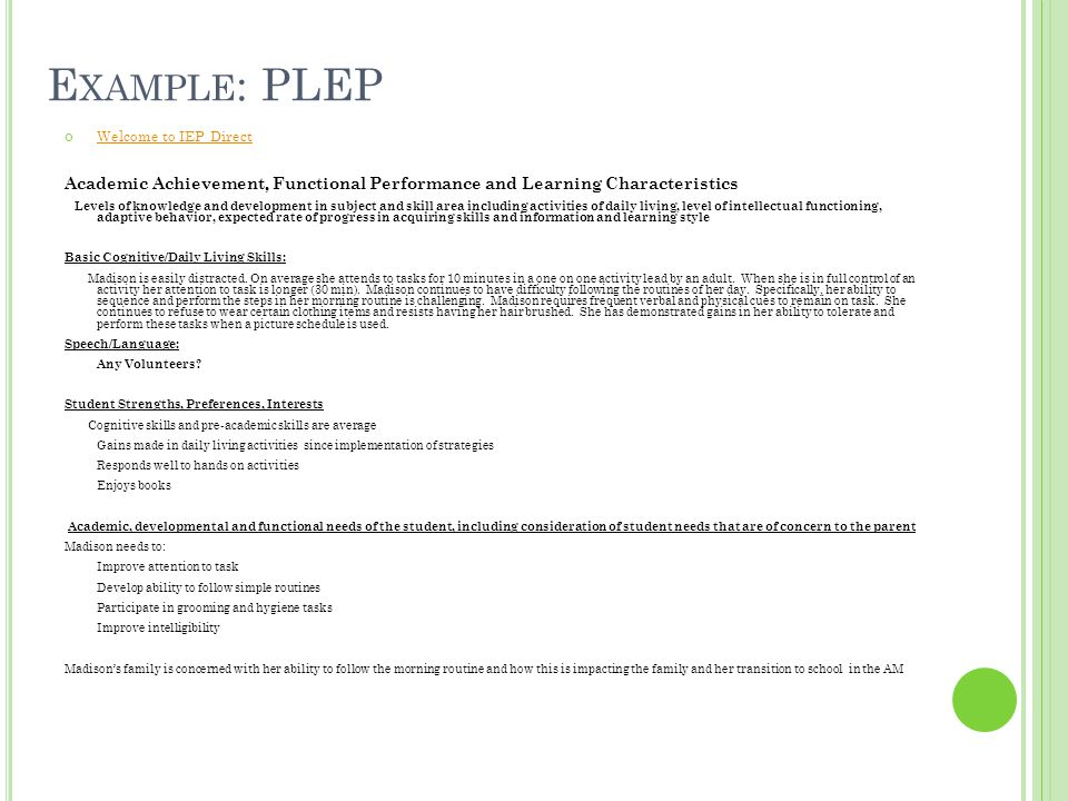 Example: PLEP Show what PLEPS looks like on IEP Direct