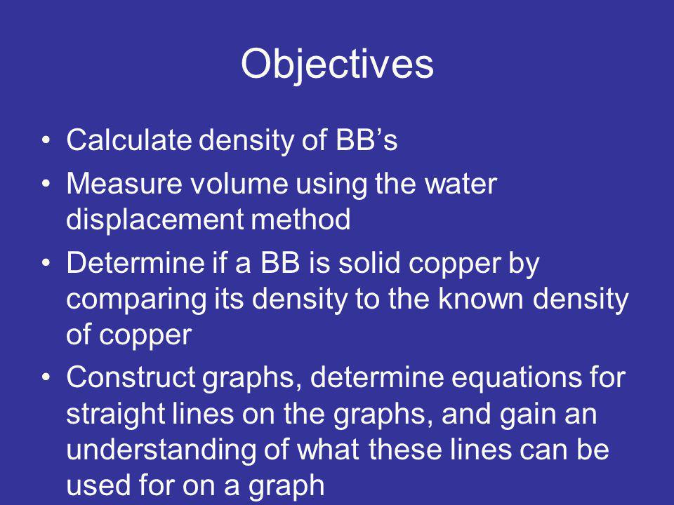 Objectives Calculate density of BB's