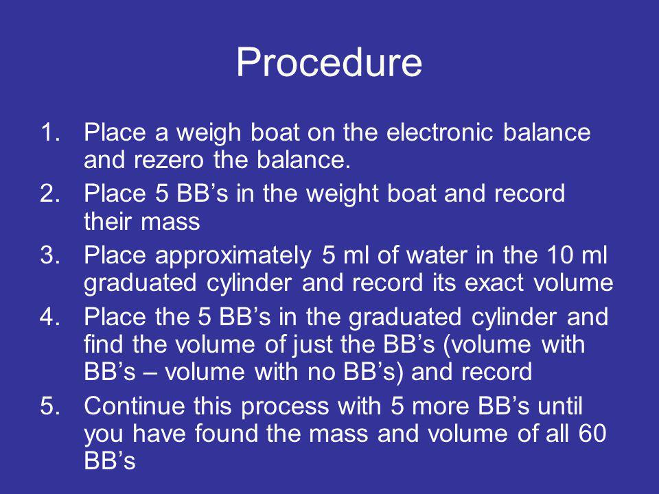 Procedure Place a weigh boat on the electronic balance and rezero the balance. Place 5 BB's in the weight boat and record their mass.