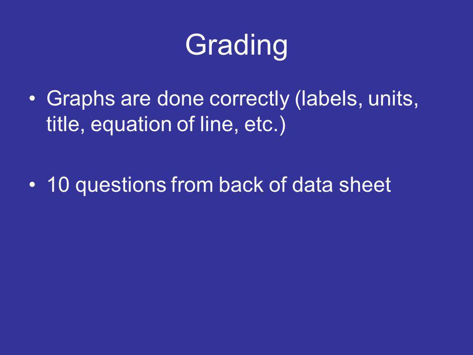 Grading Graphs are done correctly (labels, units, title, equation of line, etc.) 10 questions from back of data sheet.